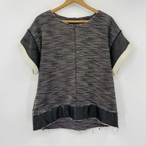 Zara W&B Collection Knit Top Faux Leather Trim